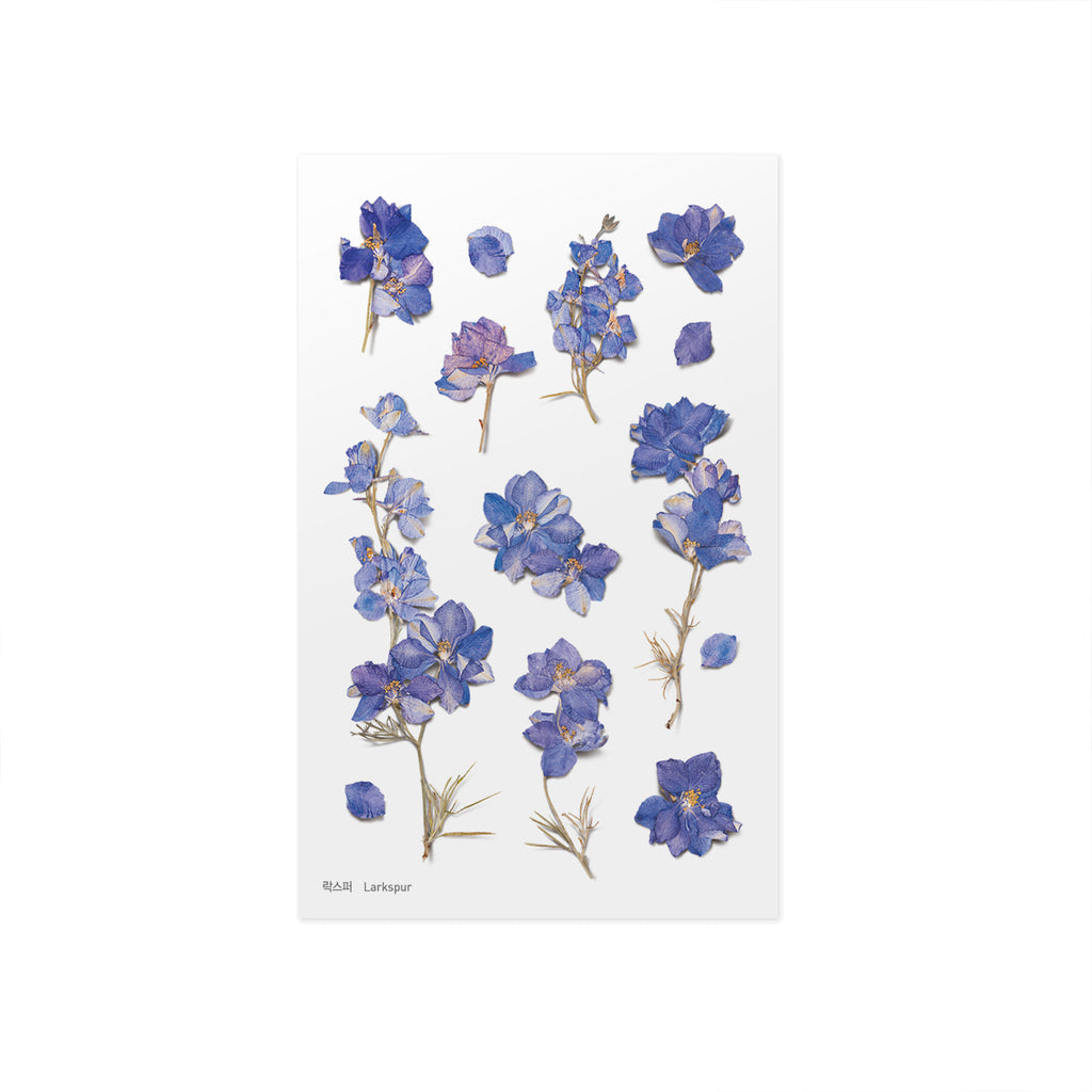 Pressed Flower Stickers - Larkspur - Paper Kooka