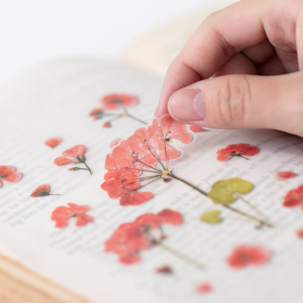 Pressed Flower Stickers - Geranium - Paper Kooka