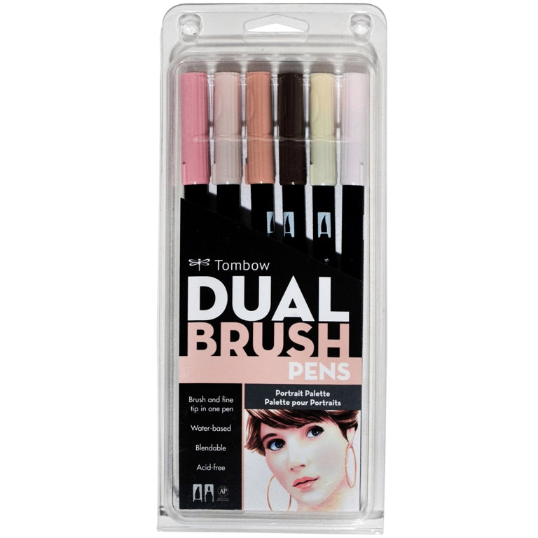 Tombow Dual Brush Pens - 6 Colour Portrait Set - Paper Kooka