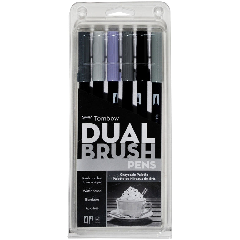 Dual Brush Pens - 6 Colour Greyscale Set - Paper Kooka