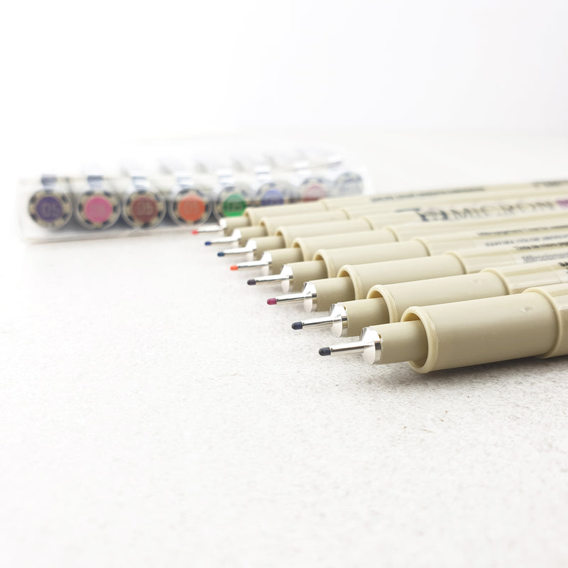 Pigma Micron - 8 Colour Set - size 05 (0.45mm) - Paper Kooka