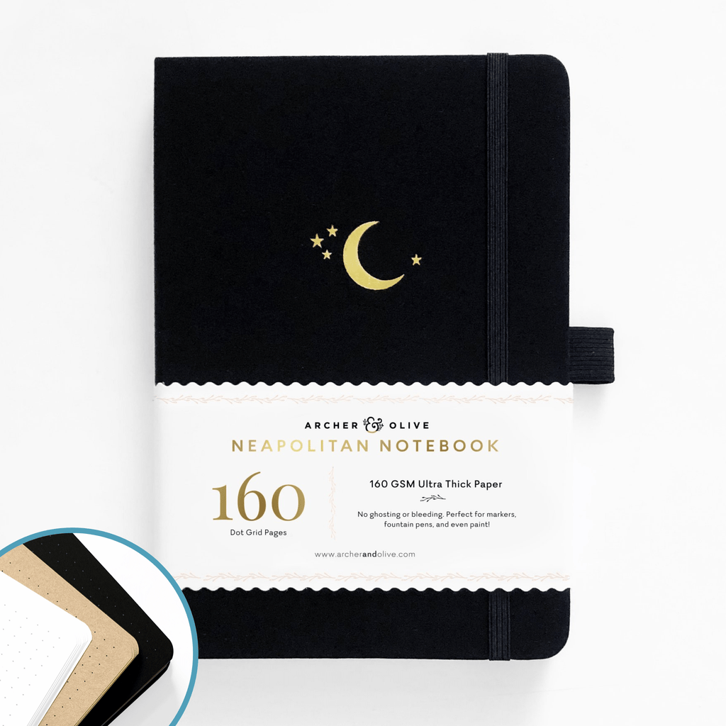 Archer & Olive Crescent Moon - A5 Neapolitan Notebook - dotted 160gsm - Paper Kooka