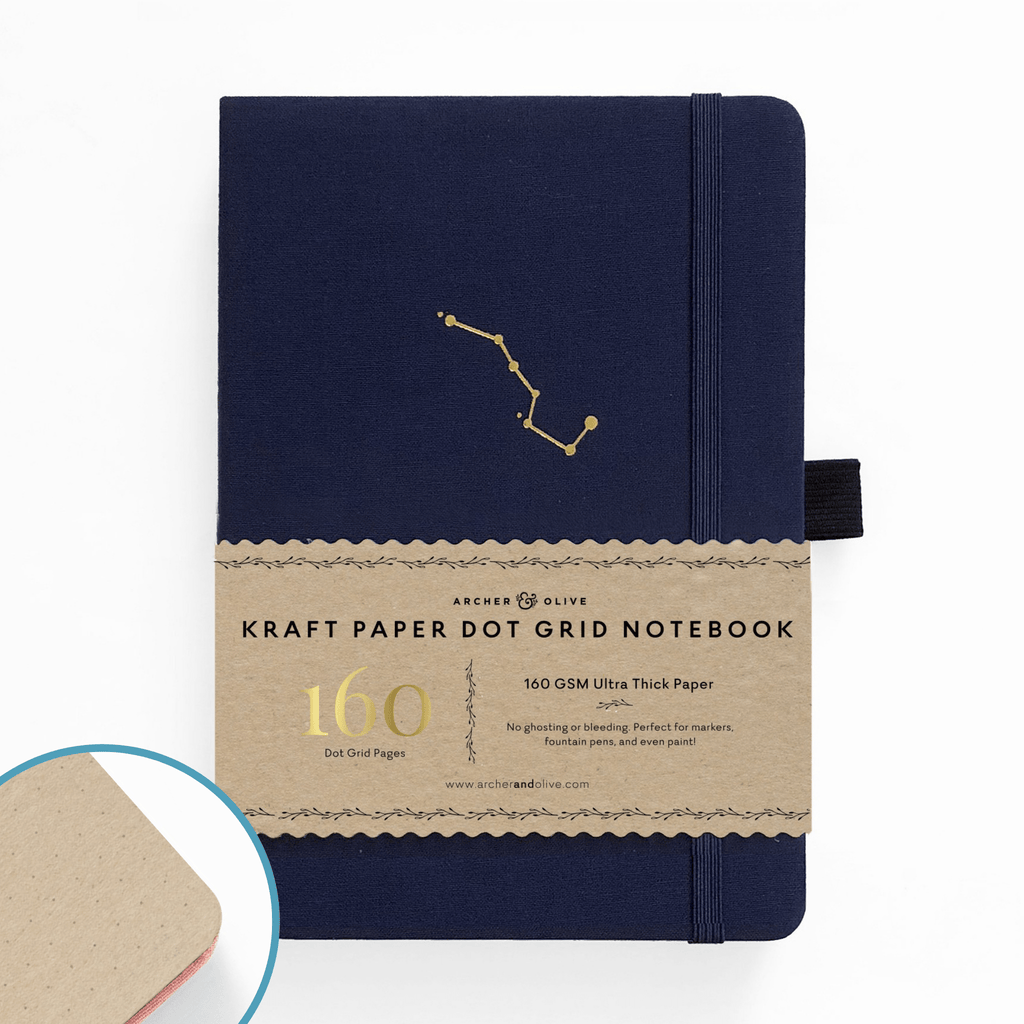A5 Night Sky Kraft Paper Dot Grid Notebook - Paper Kooka