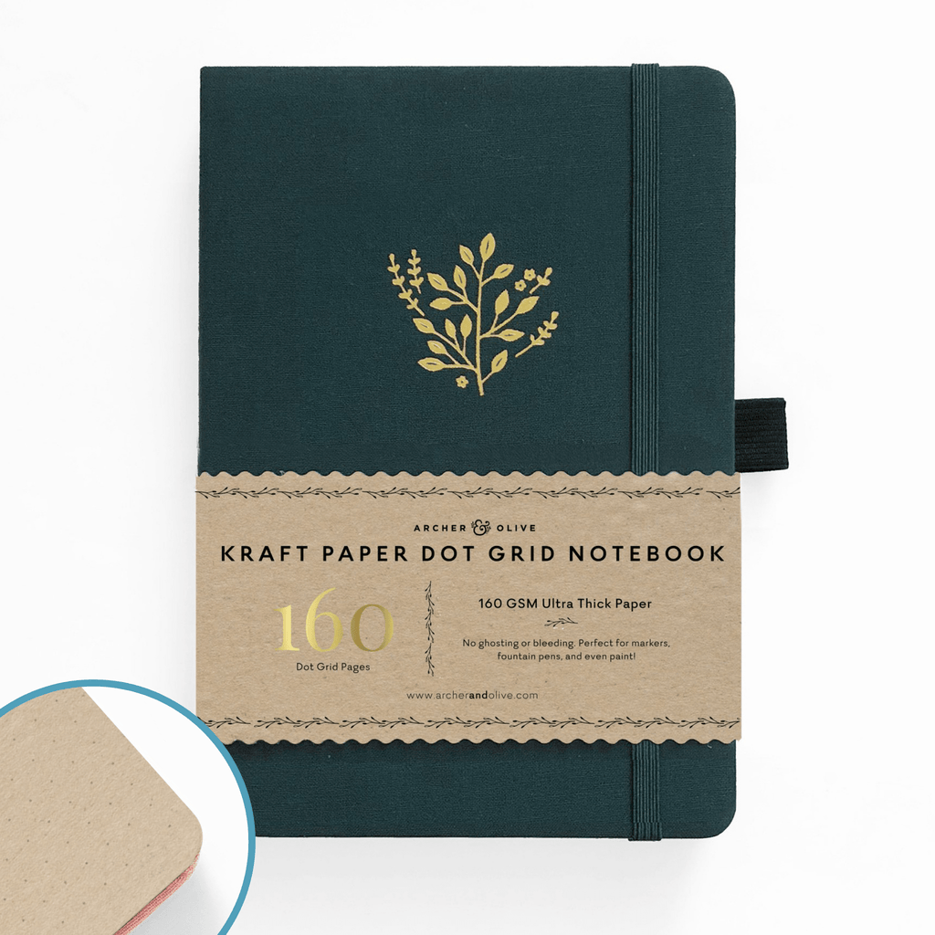 A5 Deep Green Kraft Paper Dot Grid Notebook - Paper Kooka