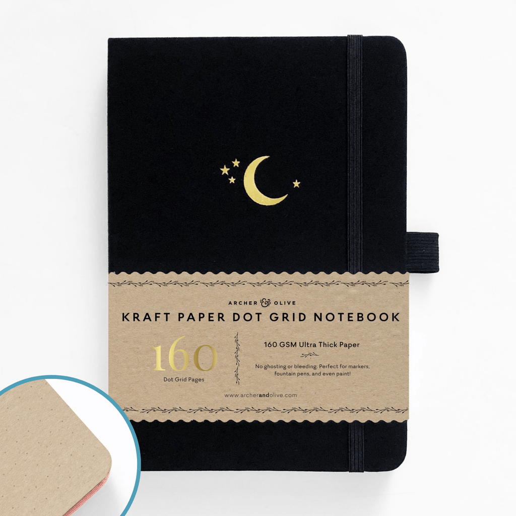 A5 Crescent Moon Kraft Paper Dot Grid Notebook - Paper Kooka