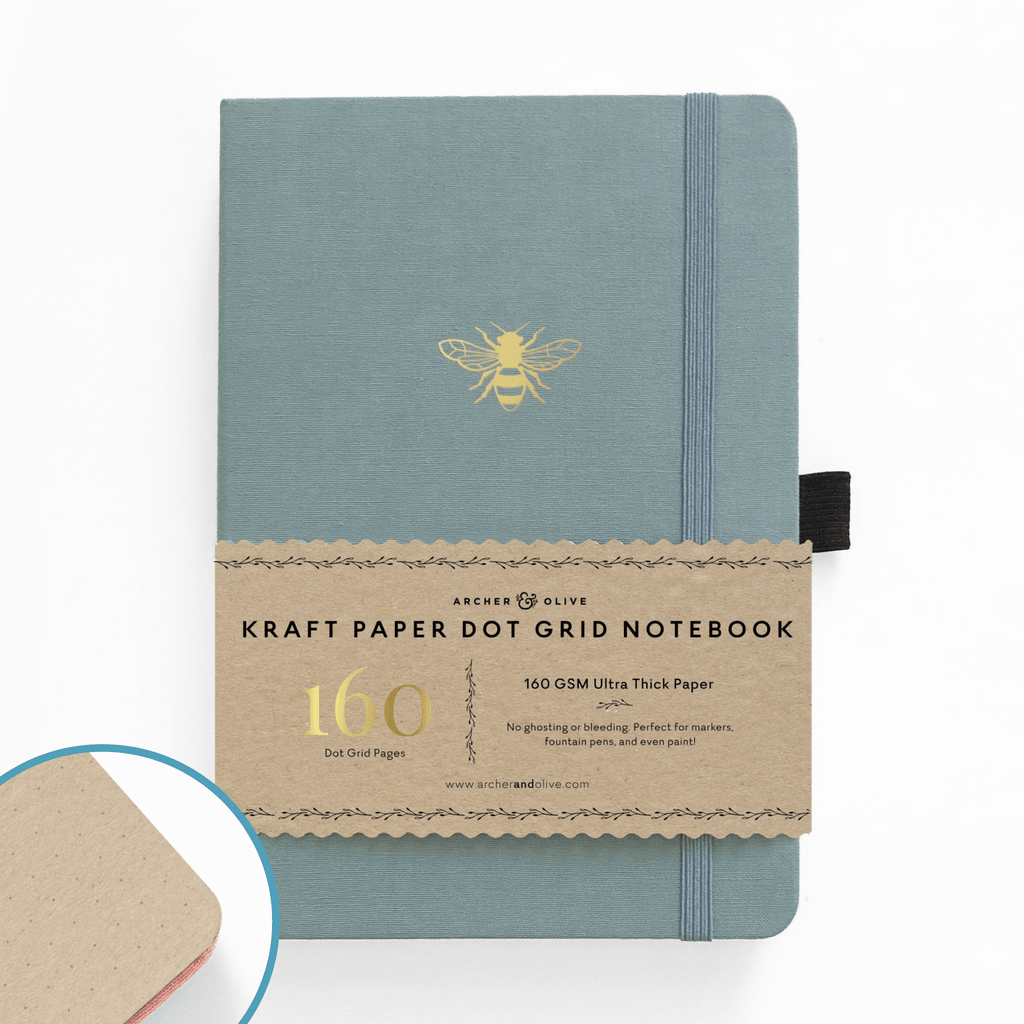 A5 Vintage Bee Kraft Paper Dot Grid Notebook - Paper Kooka