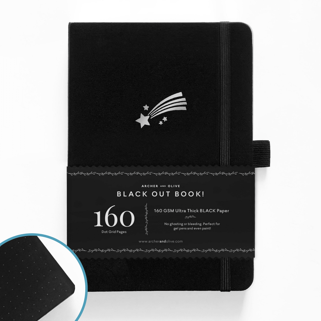 A5 Shooting Star Dot Grid Notebook with Black Pages - Paper Kooka