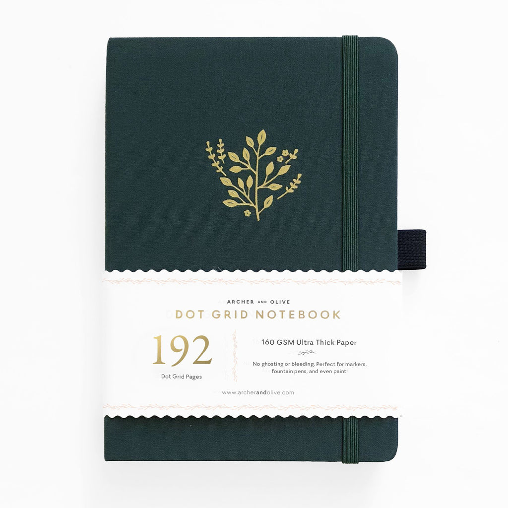 Archer & Olive Deep Green - A5 dotted, 160gsm journal - 192 pages - Paper Kooka