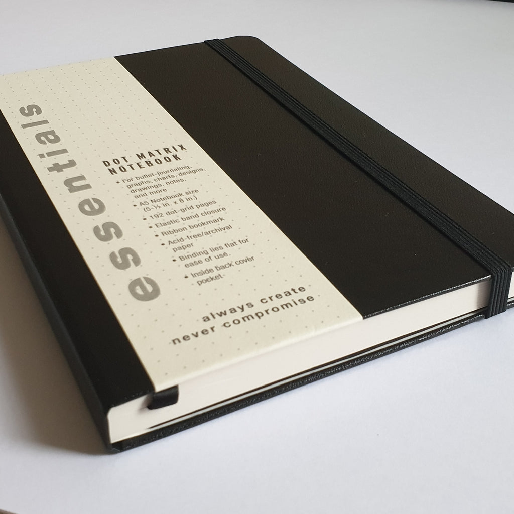 Essentials A5 Dotted Notebook - Black - Paper Kooka