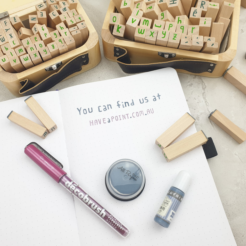 Hand Made Timber & Rubber Alphabet Stamps - Have a Point