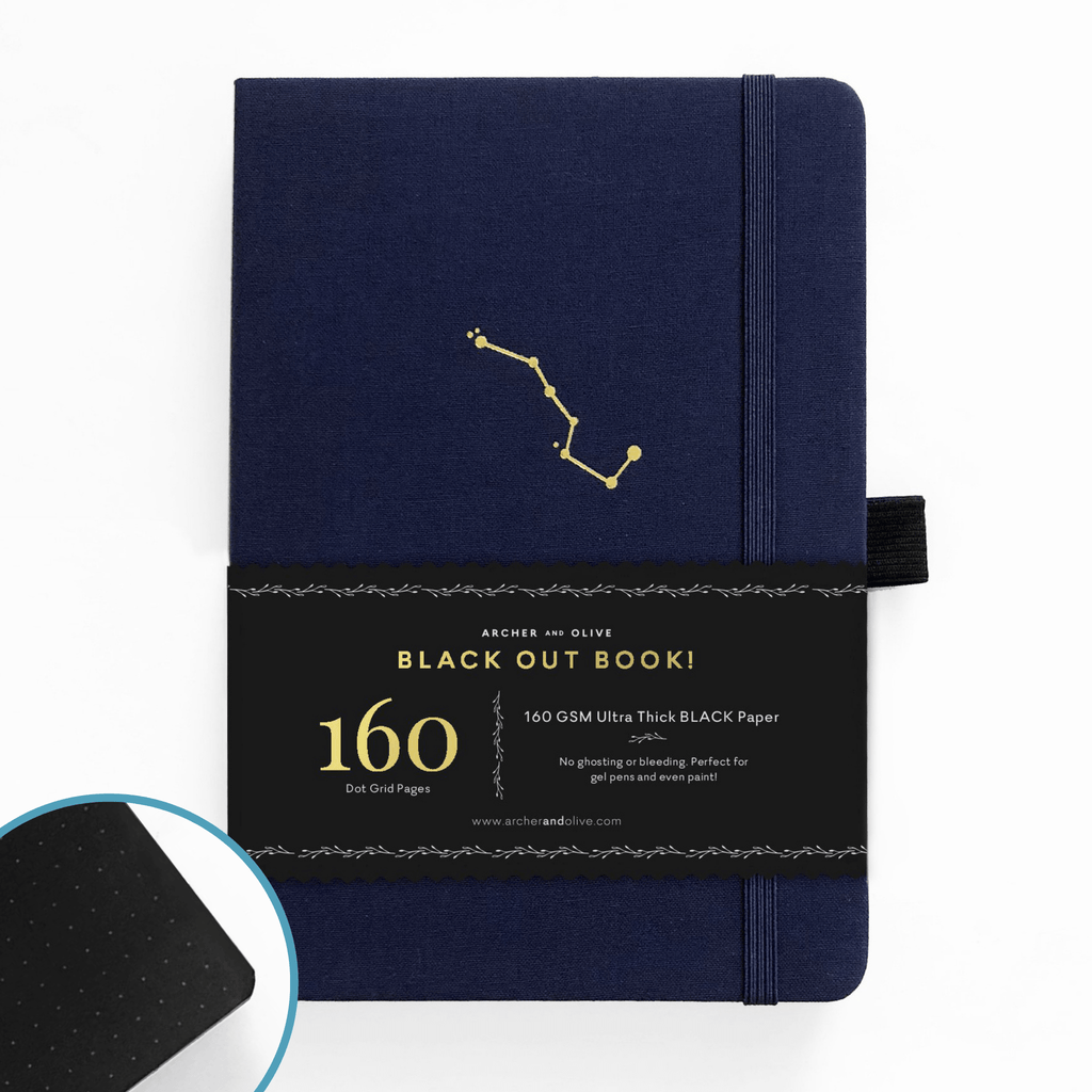 Archer & Olive Night Sky - A5 BLACKOUT Book - dotted black pages - Paper Kooka