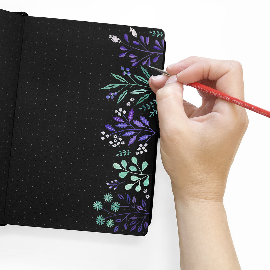 B5 Silver Crescent Dot Grid Notebook with Black Pages - Paper Kooka