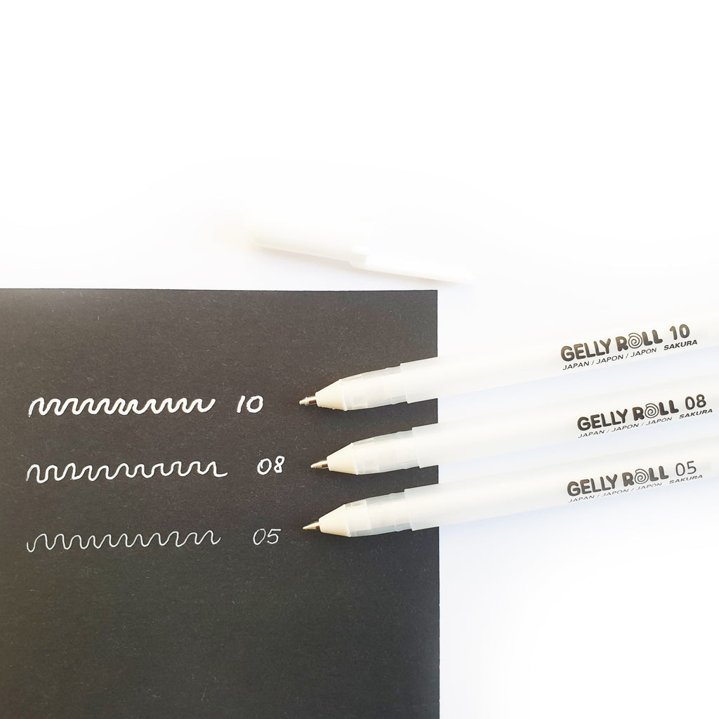 Gelly Roll - white gel pens in 3 sizes - Have a Point