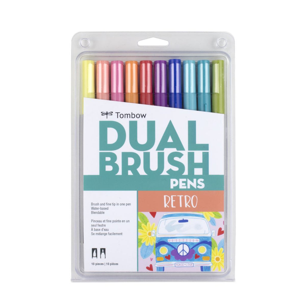 Dual Brush Pens - 10 Colour Retro Set - Paper Kooka