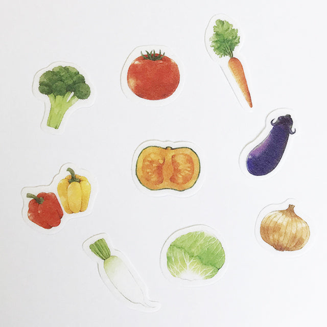 Papier Platz x Moriyue - Vegetables Flake Stickers - Paper Kooka