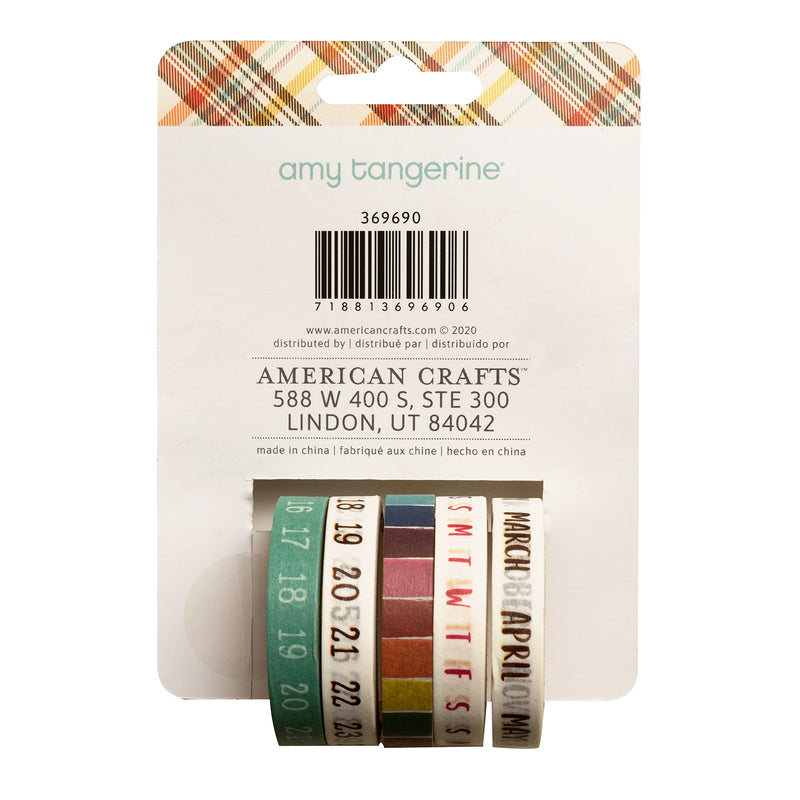 Calendar washi tapes - set of 5 - Paper Kooka