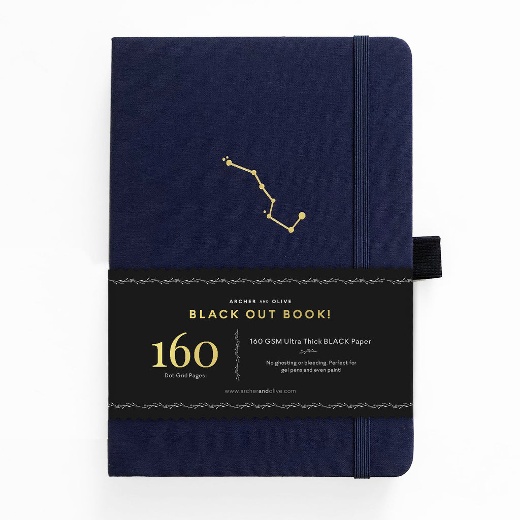 A5 Night Sky Dot Grid Notebook with Black Pages - Paper Kooka