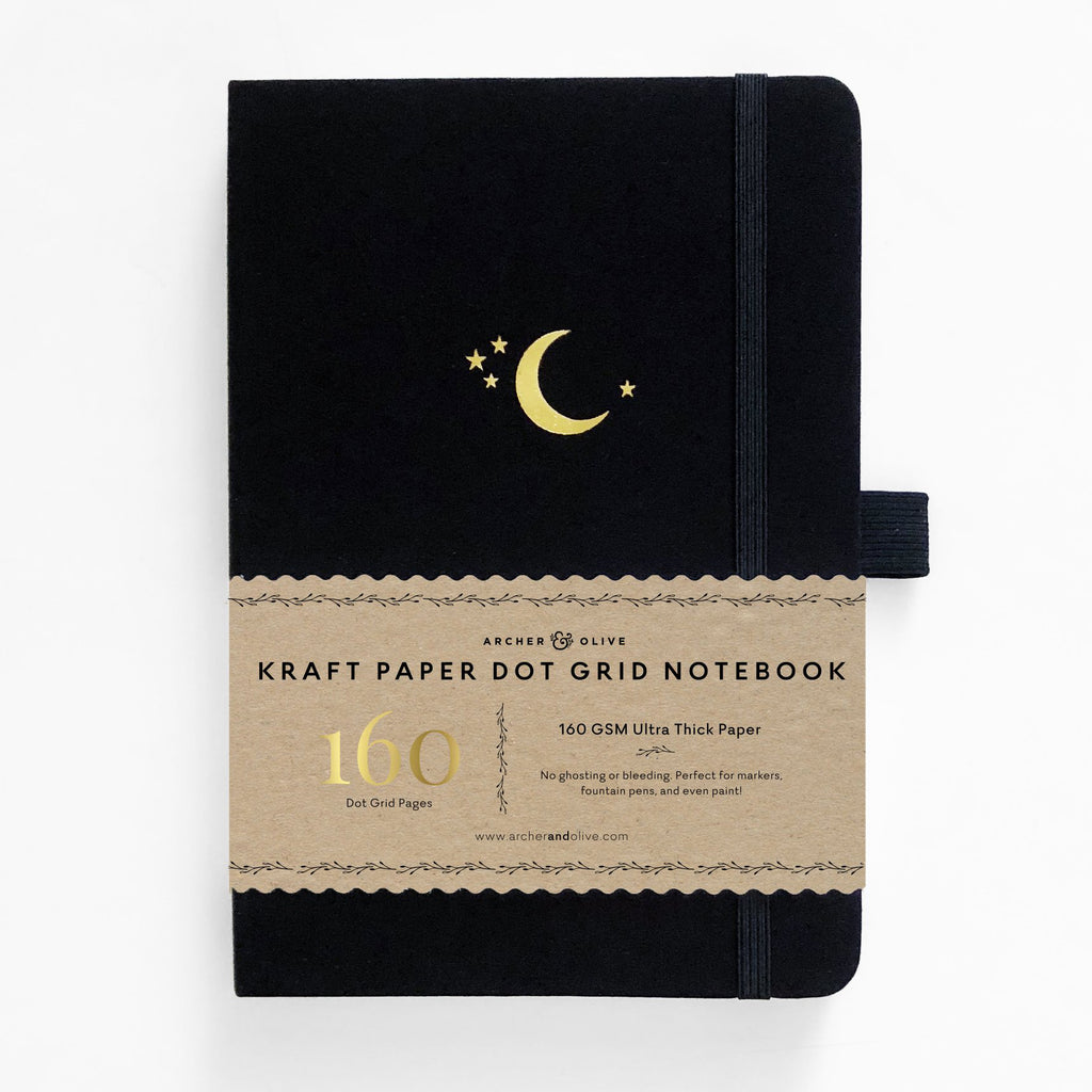 Archer & Olive Crescent Moon - A5 Kraft Paper 160gsm dotted journal - Paper Kooka