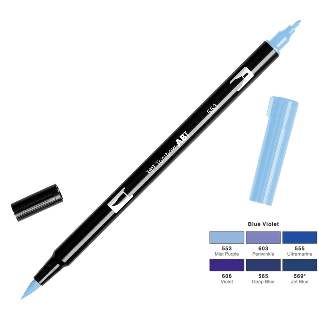 Tombow Dual Brush Pen - Blue Violet Colour Range - Paper Kooka