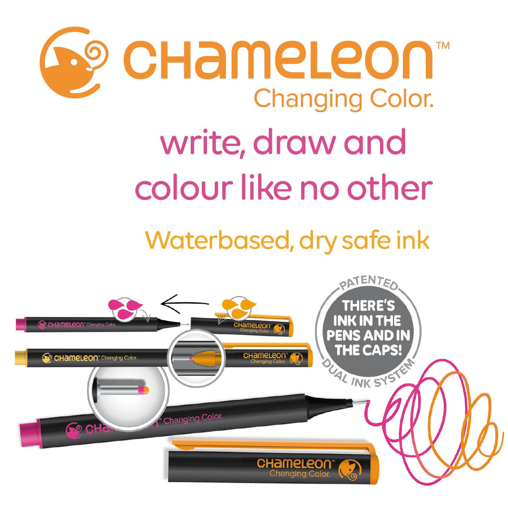 Chameleon Fineliners - Bold Colours 24 Pen Set - Paper Kooka