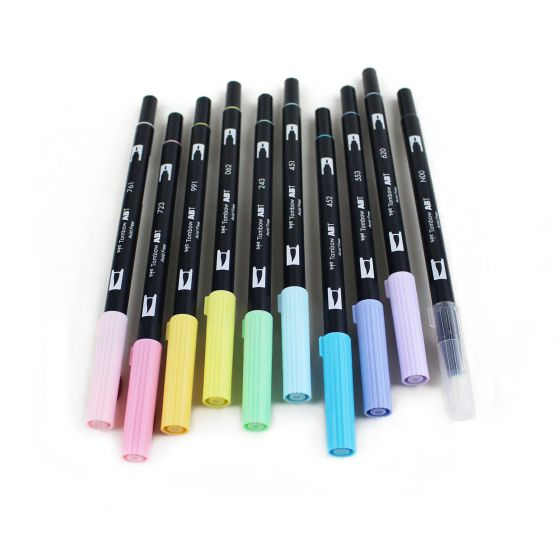 Dual Brush Pens - 10 Colour Pastel Set - Paper Kooka