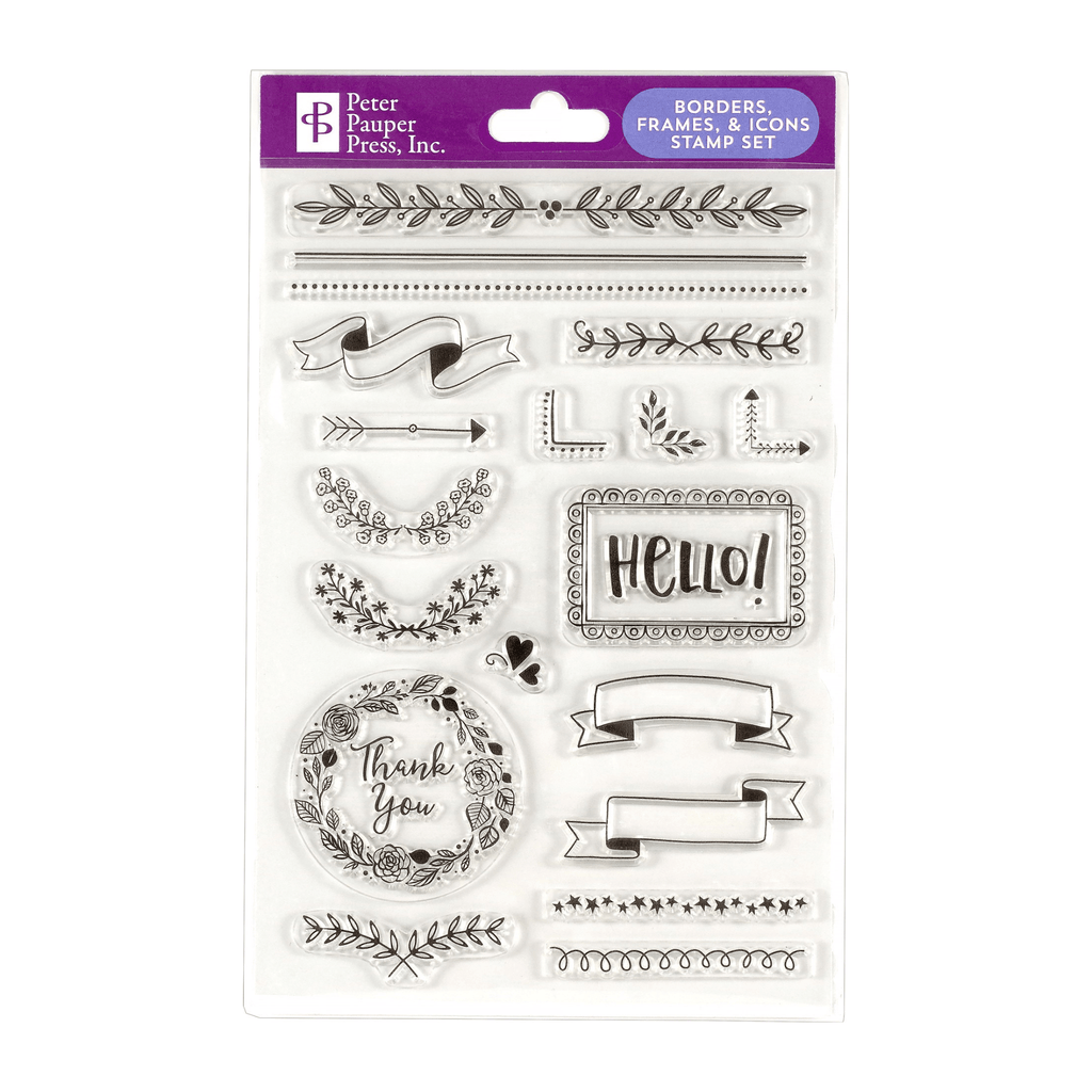 Borders, Frames & Icons Clear Stamp Set - Paper Kooka