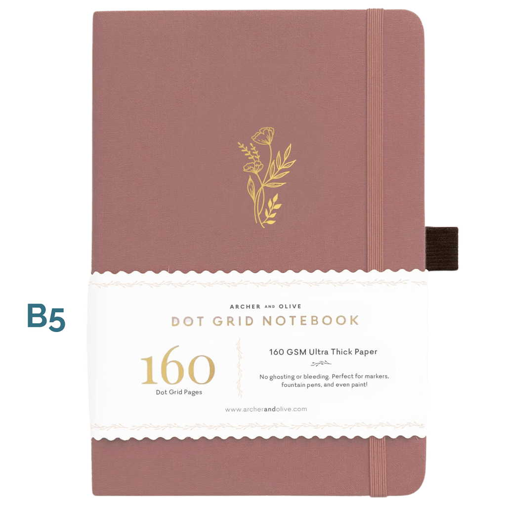 B5 Floral Sunset Dot Grid Notebook - Paper Kooka