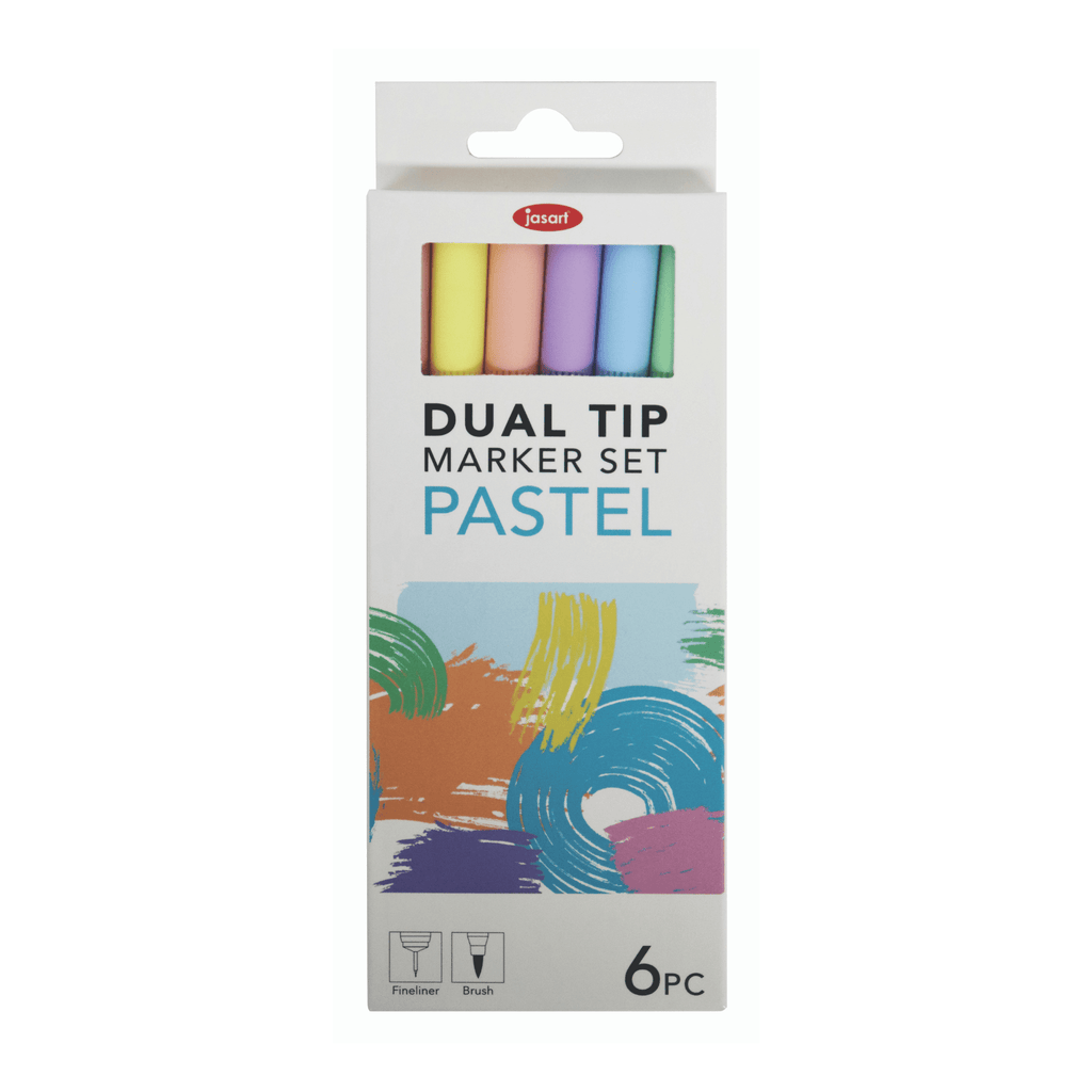 Dual Tip Brush Markers - Pastel Set of 6 - Paper Kooka