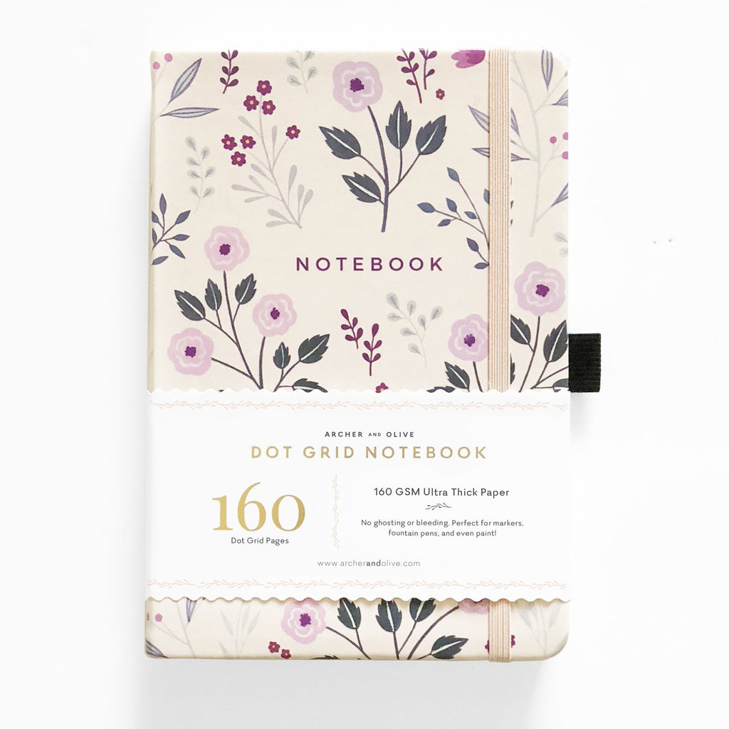 A5 Painted Flowers Dot Grid Notebook - Paper Kooka