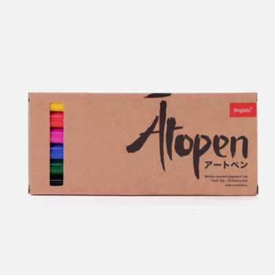 Ātopen 6-Pack Dual Tip Fineliner/Brush Pens - Primary Set - Paper Kooka