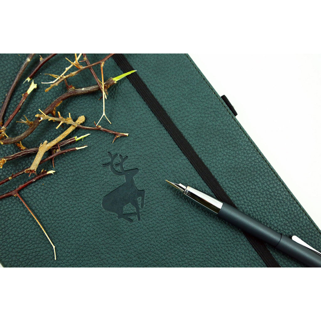 WILDLIFE - Green Deer - dotted A5+ journal - Paper Kooka