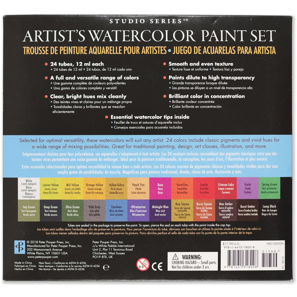 Artist's Watercolour 12ml - Set of 24 Colours - Paper Kooka