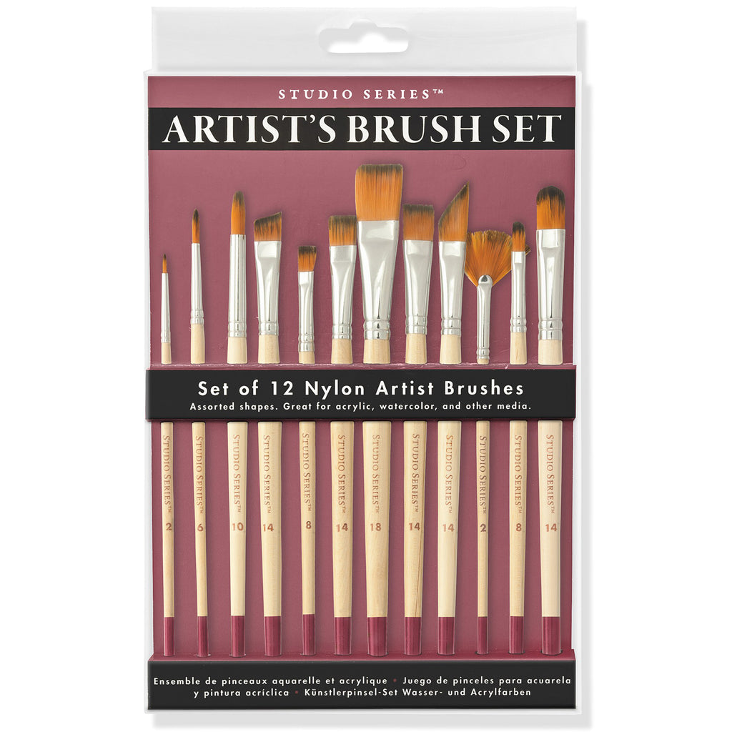 Artist's Brush - Set of 12 Taklon Brushes - Paper Kooka