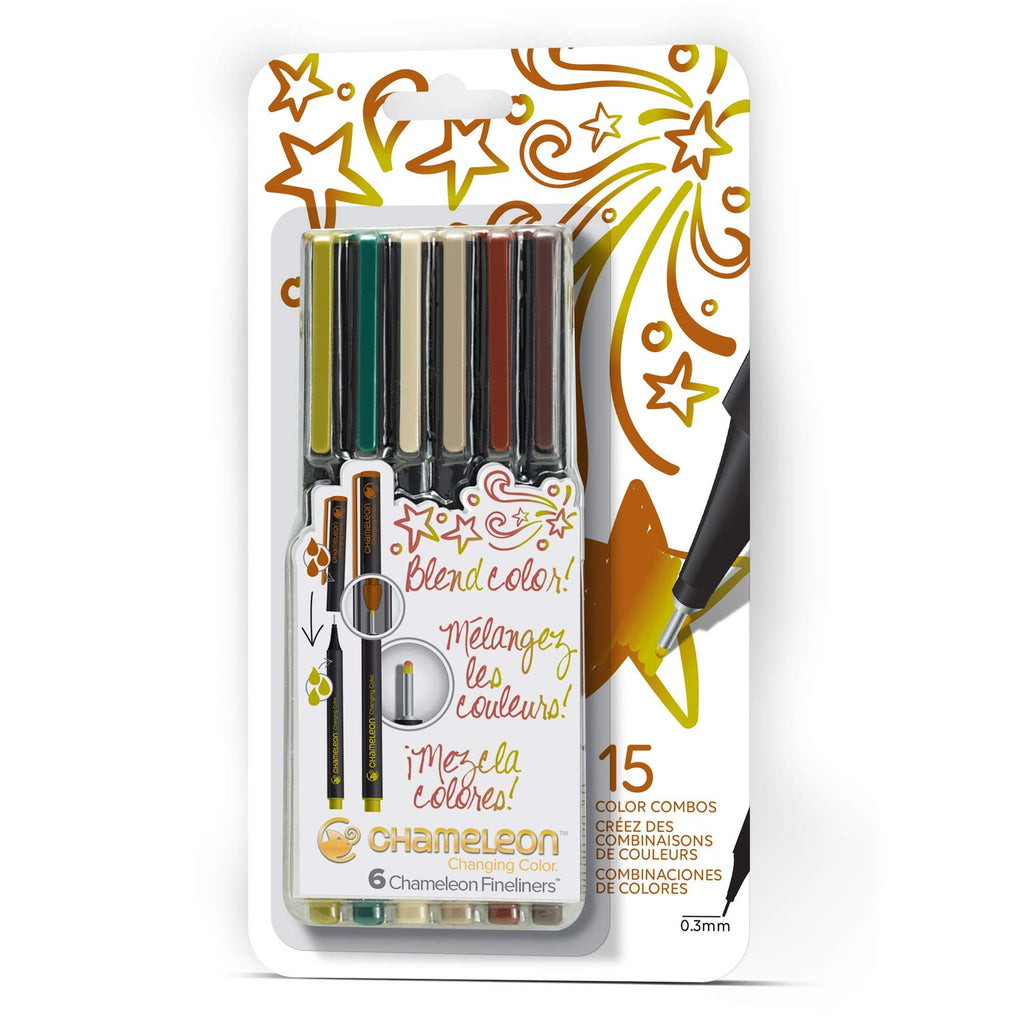 Chameleon Fineliners - Nature Colours 6 Pen Set - Paper Kooka