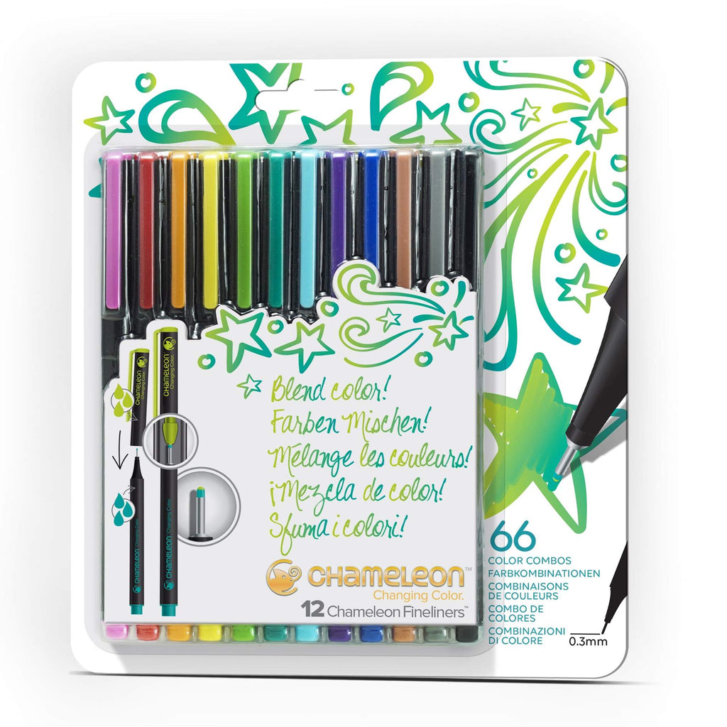 Chameleon Fineliners - Bright Colours 12 Pen Set - Paper Kooka
