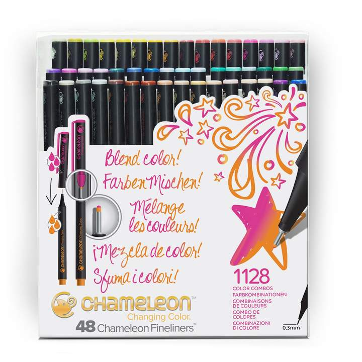 Chameleon Fineliners - Brilliant Colours 48 Pen Set - Paper Kooka
