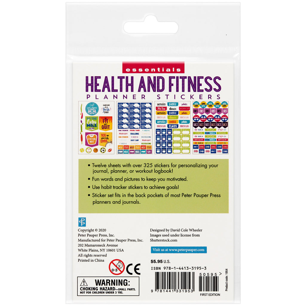 Health and Fitness Planner Stickers - 12 sheets - Paper Kooka