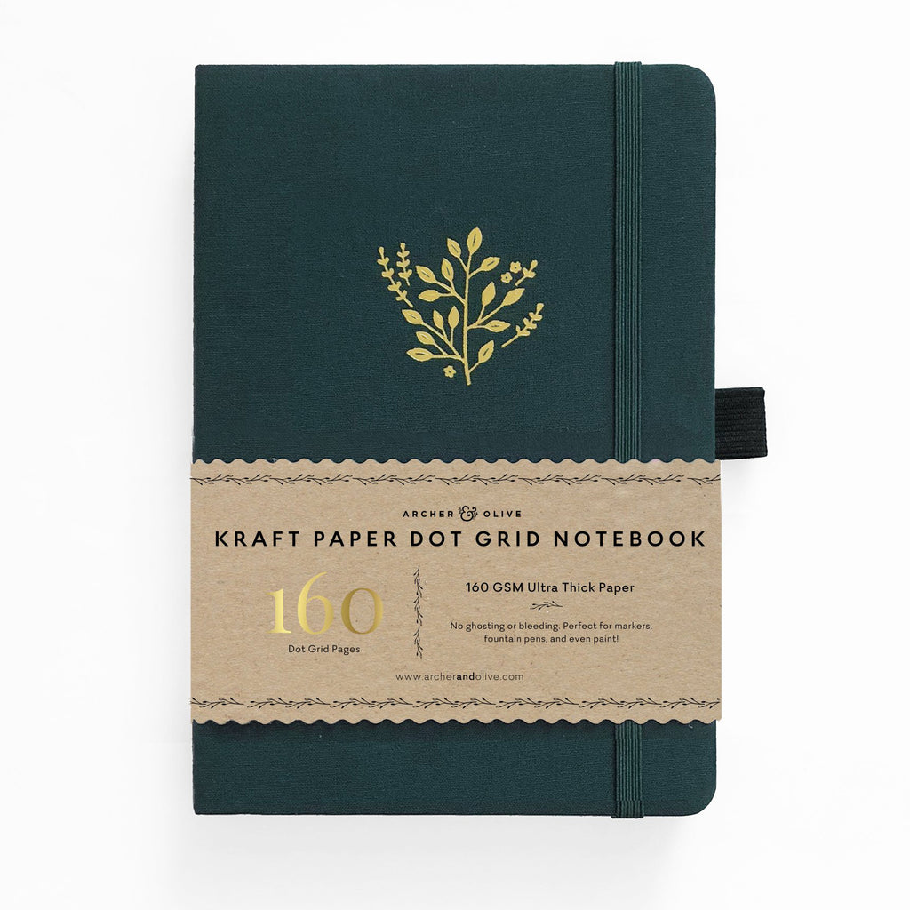 Archer & Olive Deep Green - A5 Kraft Paper 160gsm dotted journal - Paper Kooka
