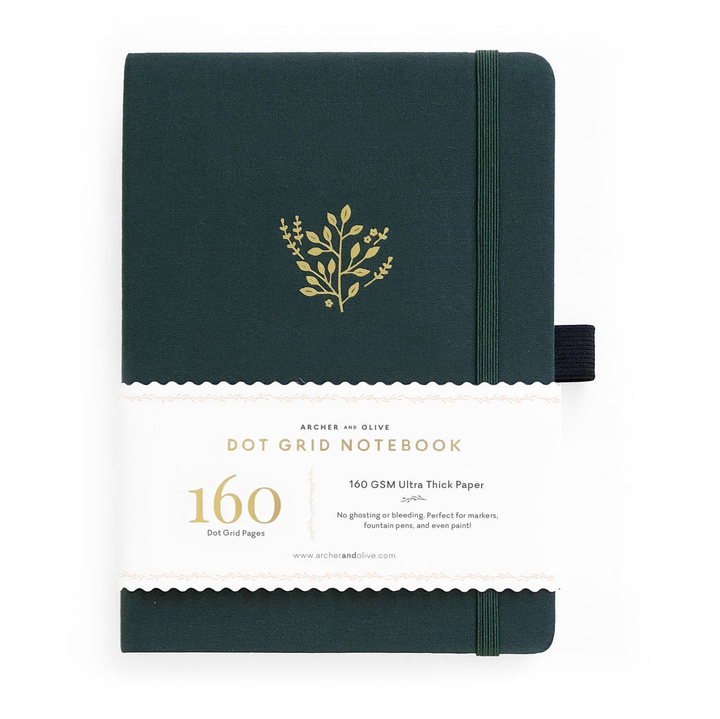 B5 Deep Green Dot Grid Notebook - Paper Kooka