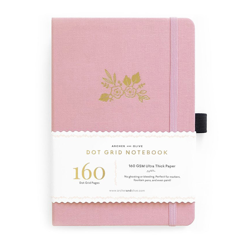 A5 Light Pink Dot Grid Notebook - Paper Kooka