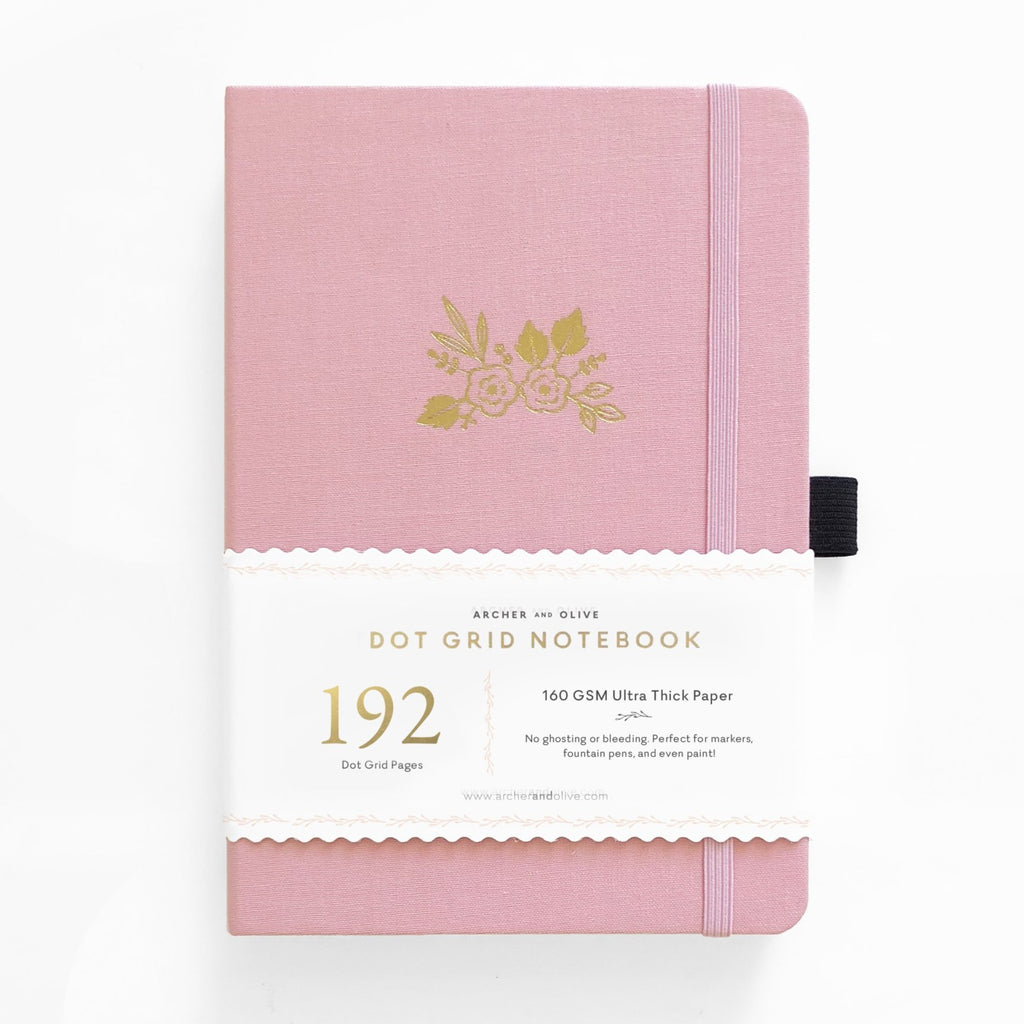 A5 Light Pink 192 Pages Dot Grid Notebook - Paper Kooka
