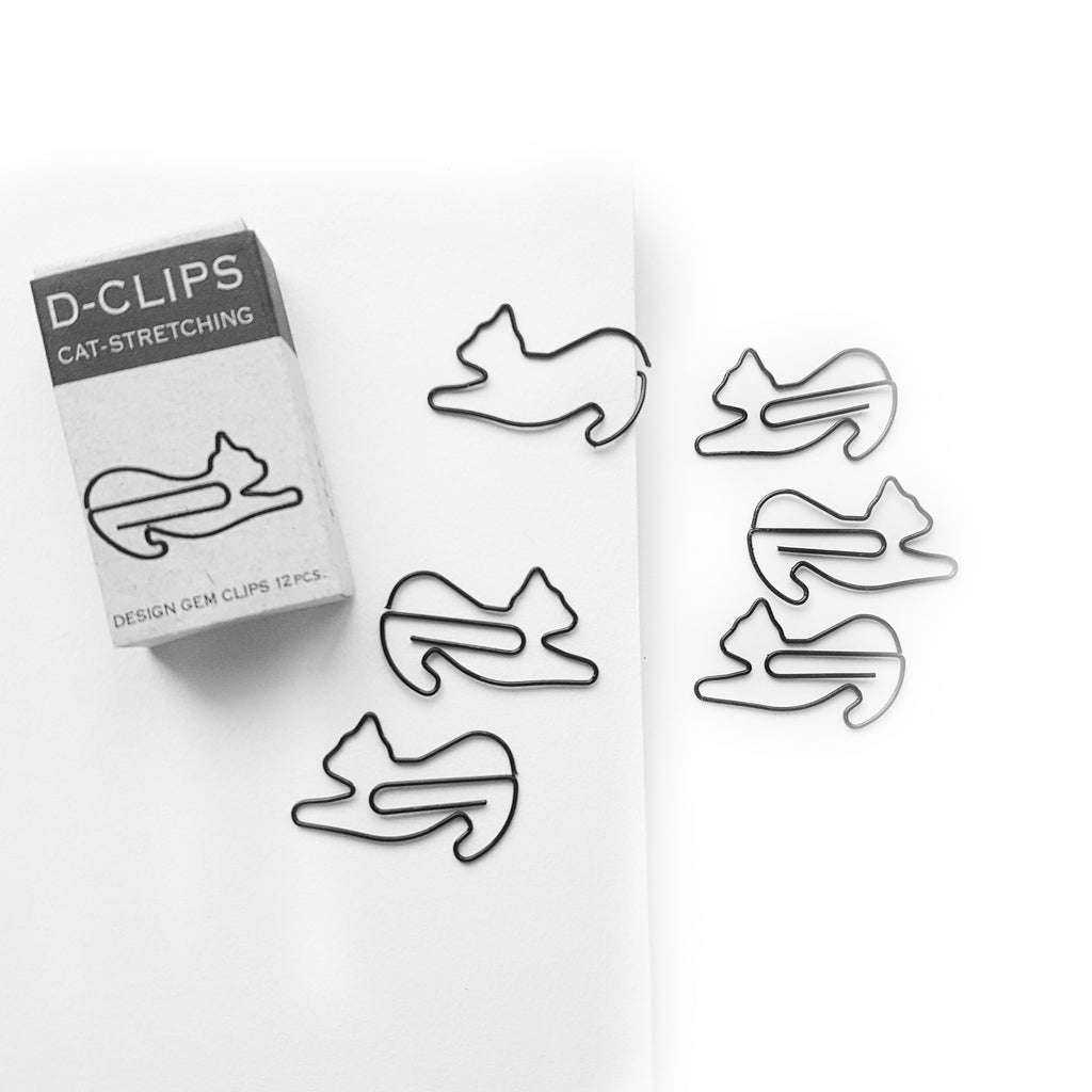 'Stretching Cat' Paper Clips - Midori D-Clip - 12pcs - Have a Point