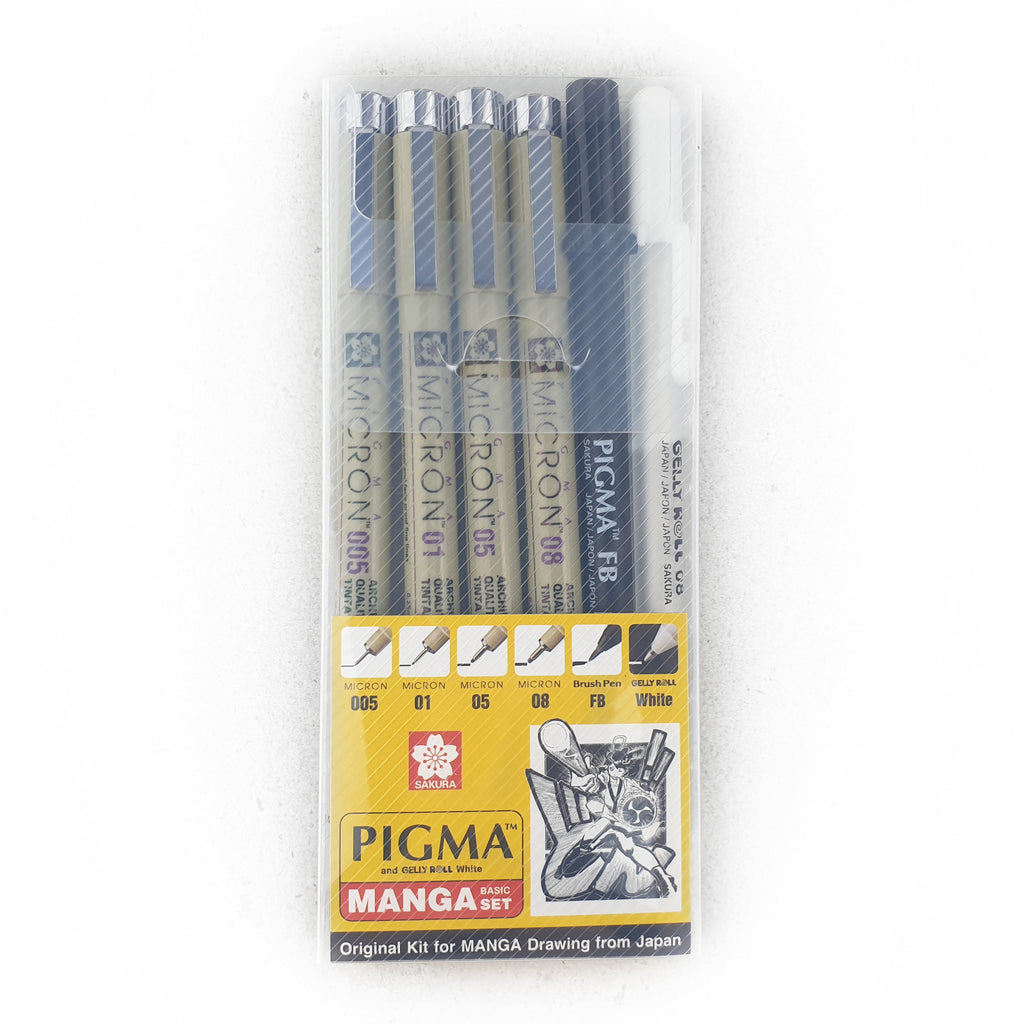 Sakura Pigma & Gelly Roll White - MANGA Basic 6 Pens Set - Have a Point