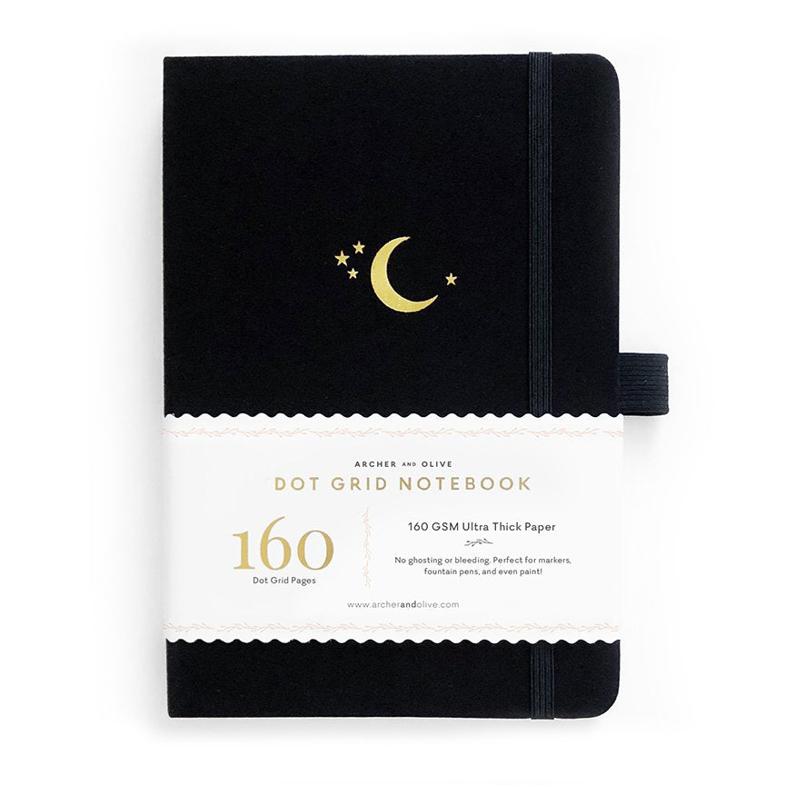 A5 Crescent Moon Dot Grid Notebook - Paper Kooka