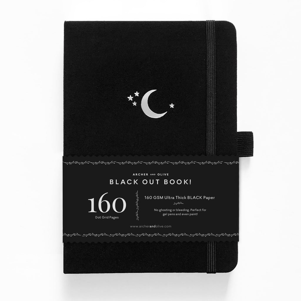 Archer & Olive Silver Crescent - A5 BLACKOUT Book - dotted black pages - Paper Kooka