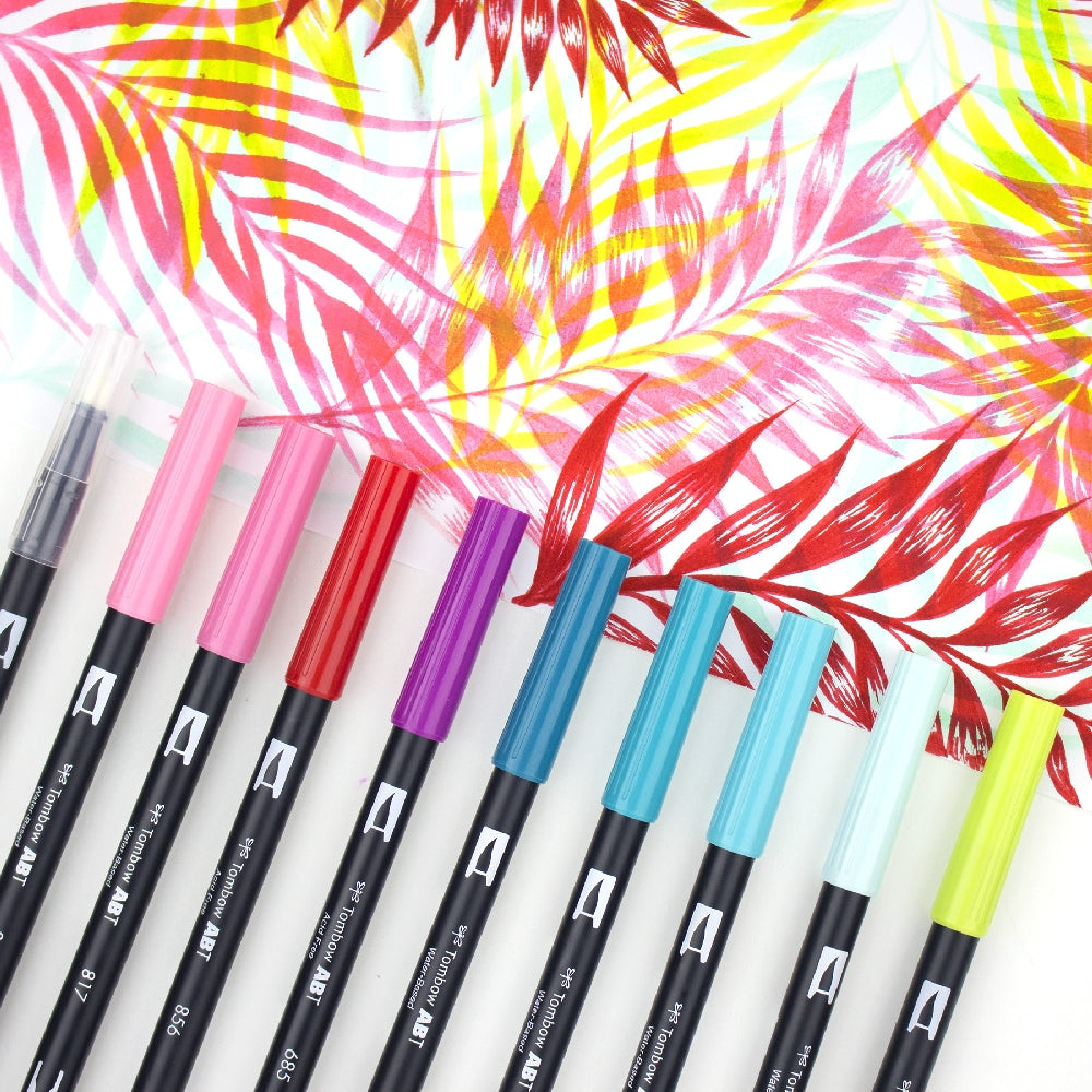 Dual Brush Pens - 10 Colour Tropical Set - Paper Kooka