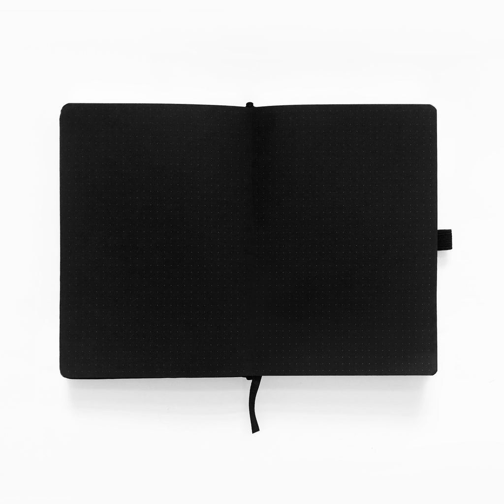 A5 Silver Crescent Dot Grid Notebook with Black Pages - Paper Kooka