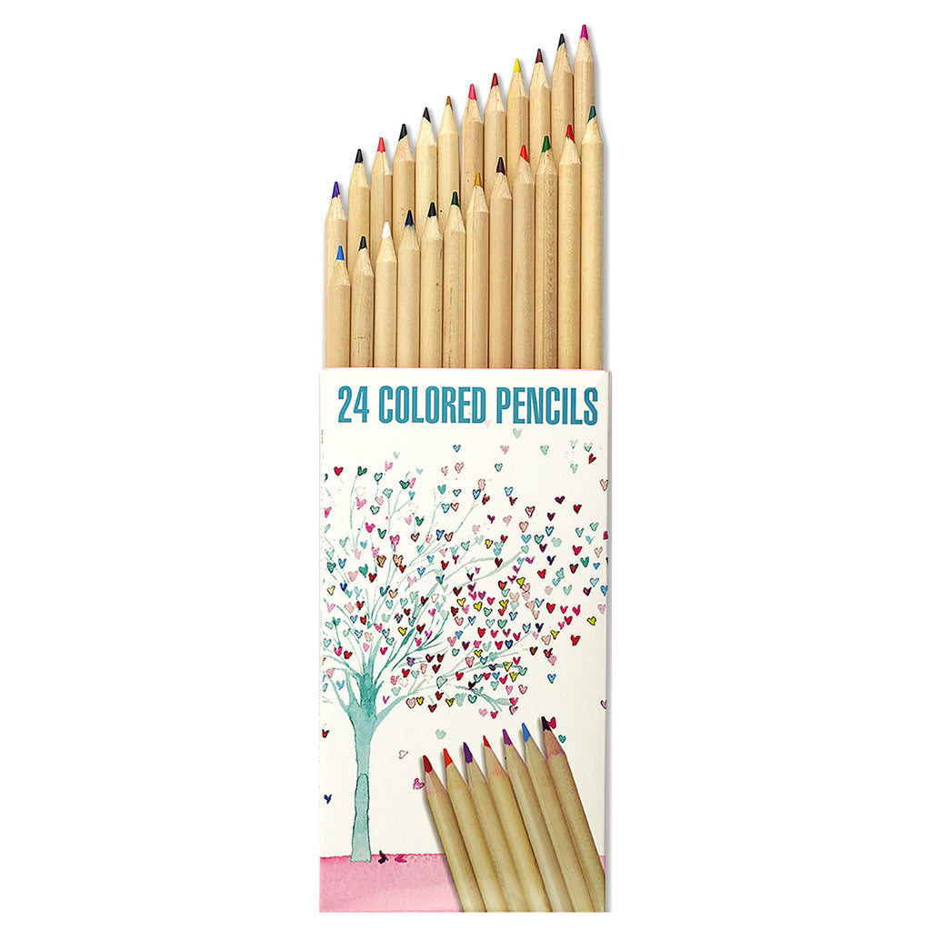 Coloured Pencil Set of 24 - Tree of Hearts - Paper Kooka
