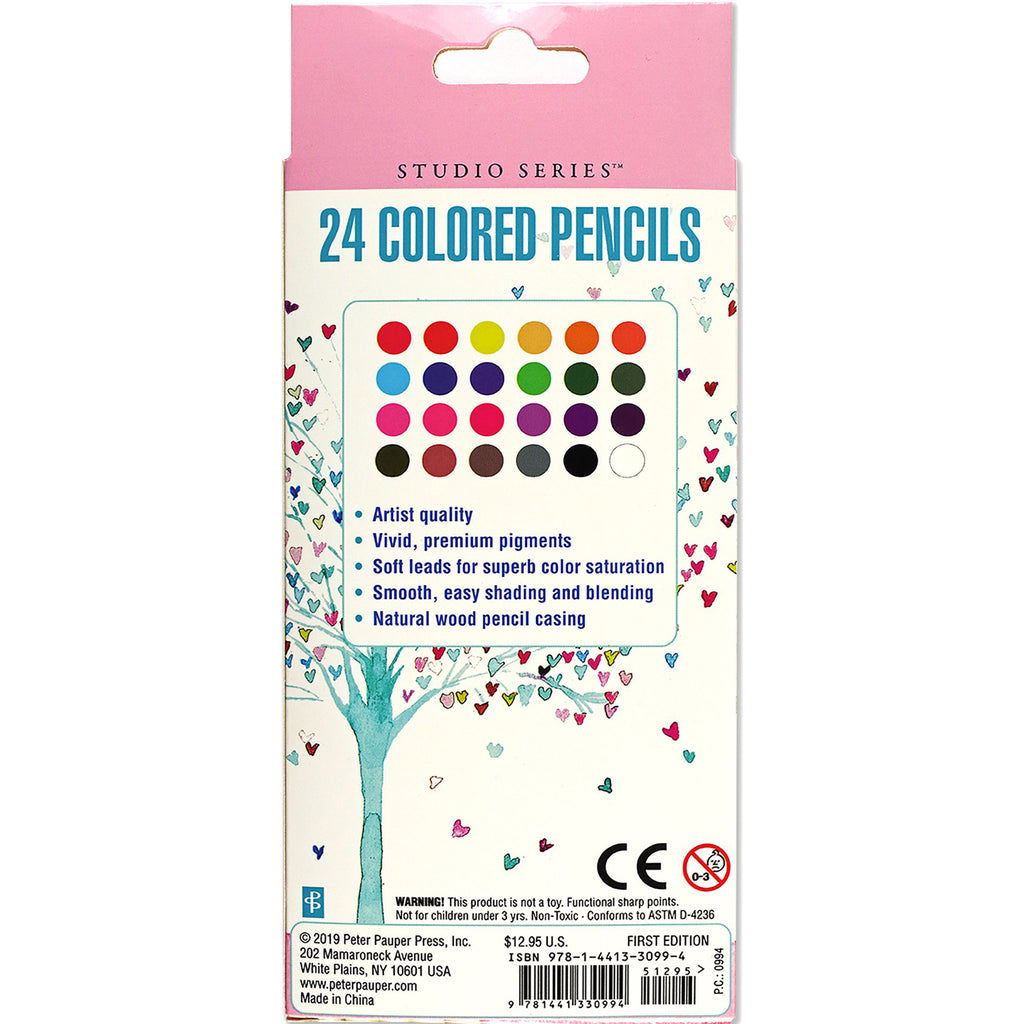Coloured Pencil Set of 24 - Tree of Hearts - Have a Point