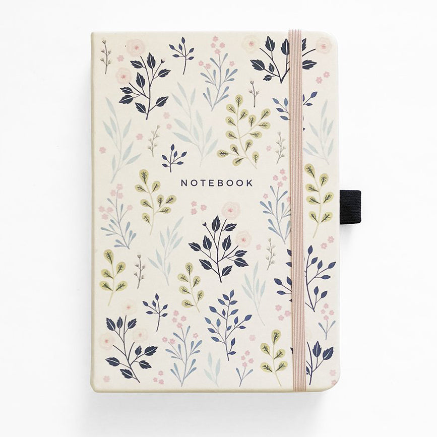 A5 Pink Flowers Dot Grid Notebook - Paper Kooka